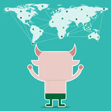 Дизайн характера и концепция дела Иллюстрация symb быка Стоковые Фотографии RF