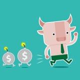 Дизайн характера и концепция дела Иллюстрация symb быка Стоковая Фотография RF