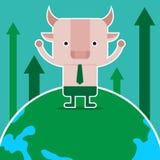 Дизайн характера и концепция дела Иллюстрация symb быка Стоковая Фотография