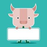 Дизайн характера и концепция дела Иллюстрация symb быка Стоковое Изображение