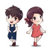 Дизайн характера мальчика и девушки иллюстрация вектора