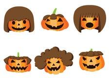 Дизайн хеллоуина стиля причесок тыквы на белом векторе иллюстрации предпосылки бесплатная иллюстрация