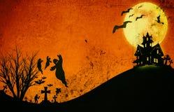 Дизайн хеллоуина: Тон ужаса ландшафта оранжевый на хеллоуин Стоковые Фото