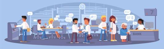 Дизайн цвета внутренней панорамы банка плоский r бесплатная иллюстрация