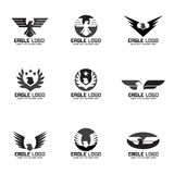 Дизайн черного серого логотипа вектора орла установленный Стоковое фото RF