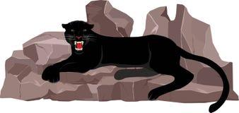 Дизайн черной пантеры лежа на слове Стоковое Изображение RF