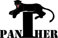 Дизайн черной пантеры лежа на слове Стоковые Фотографии RF