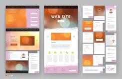 Дизайн шаблона вебсайта с элементами интерфейса стоковое изображение
