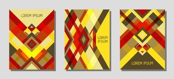 Дизайн шаблона вектора постраничного макета обложки геометрический с треугольниками и картиной нашивок Стоковые Изображения