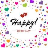 Дизайн шаблона для горизонтальной карточки С днем рождения в круге дальше Стоковое Изображение