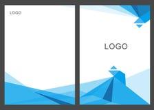 Дизайн шаблона рогульки брошюры листовки годового отчета полигона абстрактного треугольника голубой, дизайн плана обложки книги Стоковые Фото