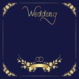 Дизайн шаблона свадьбы флористической рамки, ручной литерности, ленты, и 2 колец иллюстрация штока