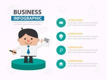 Дизайн шаблона списка бумаги выставки шаржа бизнесмена infographic стоковое фото rf