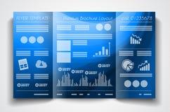Дизайн шаблона брошюры вектора trifold или план рогульки Стоковые Изображения RF