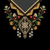 Дизайн шаблона вектора для рубашек воротника, блузок, футболки Вышивка цветет шея и геометрический орнамент paisley иллюстрация штока