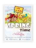Дизайн шаблона, знамени или рогульки на время весны Стоковое Изображение RF