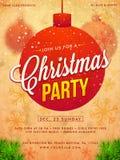 Дизайн шаблона, знамени или рогульки рождественской вечеринки Стоковые Фотографии RF
