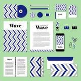 Дизайн шаблона канцелярских принадлежностей вектора с линией волны Стоковые Изображения RF