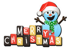 Дизайн шаблона милого рождества снеговика декоративный, Новый Год Иллюстрация штока