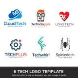 Дизайн шаблона логотипа технологии стоковое изображение
