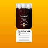 Дизайн шаблона подарочных сертификатов скидки для партии пива Талоны специального предложения или сертификата Стоковое Изображение RF
