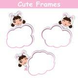 Дизайн шаржа вектора бумаги карточки памятки с милыми девушками панды на розовой рамке соответствующей для открытки ребенк иллюстрация штока