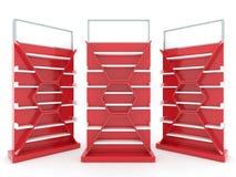 Дизайн шкафа полки с затыловкой красного цвета Стоковое Изображение