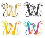 Дизайн шрифта алфавита w Стоковые Фото