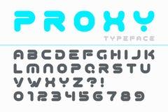Дизайн шрифта вектора декоративный футуристический, алфавит, пальмира, ty иллюстрация вектора