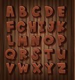 Дизайн шрифта для английских алфавитов с коричневым цветом иллюстрация вектора