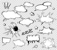 Дизайн шумового эффекта установленный для комика Облако челки комика, звук плена, звук плена бомбы мысль речи шуточной иллюстраци Стоковые Изображения RF