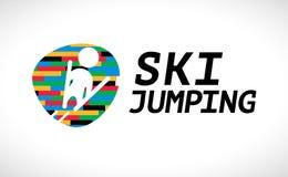 Дизайн эмблемы чемпионата прыжков с трамплина вектора плоский Стоковые Изображения RF