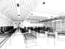 Дизайн эскиза внутреннего ресторана Стоковые Изображения