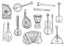 Дизайн эскиза музыкальных инструментов вектора иллюстрация вектора
