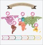 Дизайн эскиза infographics иллюстрации карты мира геометрический Стоковое Фото