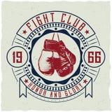 Дизайн ярлыка с иллюстрацией перчаток бокса Стоковое фото RF