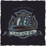 Дизайн ярлыка футболки пожарного с иллюстрацией шлема с пересеченными осями Стоковое фото RF