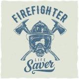 Дизайн ярлыка футболки пожарного Стоковое Фото