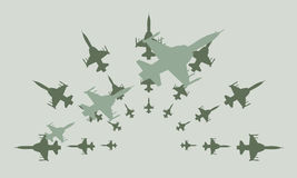 Дизайн Clipart вектора реактивных истребителей армии Стоковые Изображения