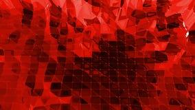 Дизайн 3D шаржа современный Абстрактная сияющая красная низкая поли поверхность как славная предпосылка в стильном низком поли ди видеоматериал