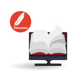 Дизайн EBook Значок чтения Белая предпосылка, иллюстрация вектора Стоковые Изображения RF
