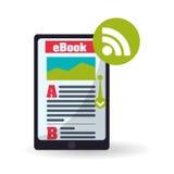 Дизайн EBook Значок чтения Белая предпосылка, иллюстрация вектора Стоковое Изображение