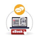Дизайн EBook Значок чтения Белая предпосылка, иллюстрация вектора Стоковая Фотография