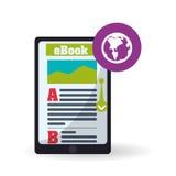 Дизайн EBook Значок чтения Белая предпосылка, иллюстрация вектора Стоковые Фотографии RF