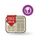 Дизайн EBook Значок чтения Белая предпосылка, иллюстрация вектора Стоковое фото RF