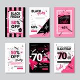 Дизайн Grunge собрания плакатов черного знамени продажи пятницы установленный розовый Стоковая Фотография RF