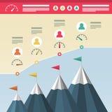 Дизайн Infographic с горами Успех в бизнесе Infographics Достижение верхней части холмов с флагами и значками топлива стоковое фото