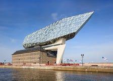 Дизайн Zaha Hadid, порт Антверпена размещает штаб на рассвете, Антверпене, Бельгии Стоковое Фото