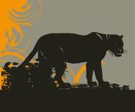дикая кошка иллюстрации grunge Стоковые Изображения