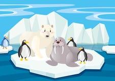 Дикие животные в северном полюсе иллюстрация вектора